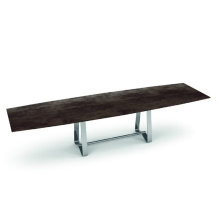 "Zumsteg Gartentisch ""Umbria"", Gestell Edelstahl, Tischplatte Keramik, bootsförmig"