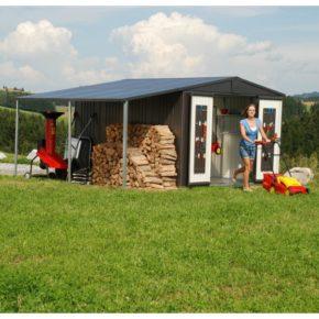 """Gerätehaus """"Europa"""" von Biohort mit Seitendach, Größe: 316 x 300 x 209 cm, Stahlblech dunkelgrau"""
