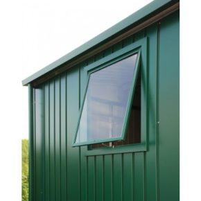"""Gerätehaus """"Europa"""" von Biohort, Stahlblech dunkelgrün, Fensterelement"""