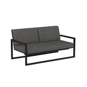 "Royal Botania ""Ninix 160"" 2-Sitzer Loungesofa, Gestell Aluminium anthrazit, Bespannung Textilgewebe schwarz"