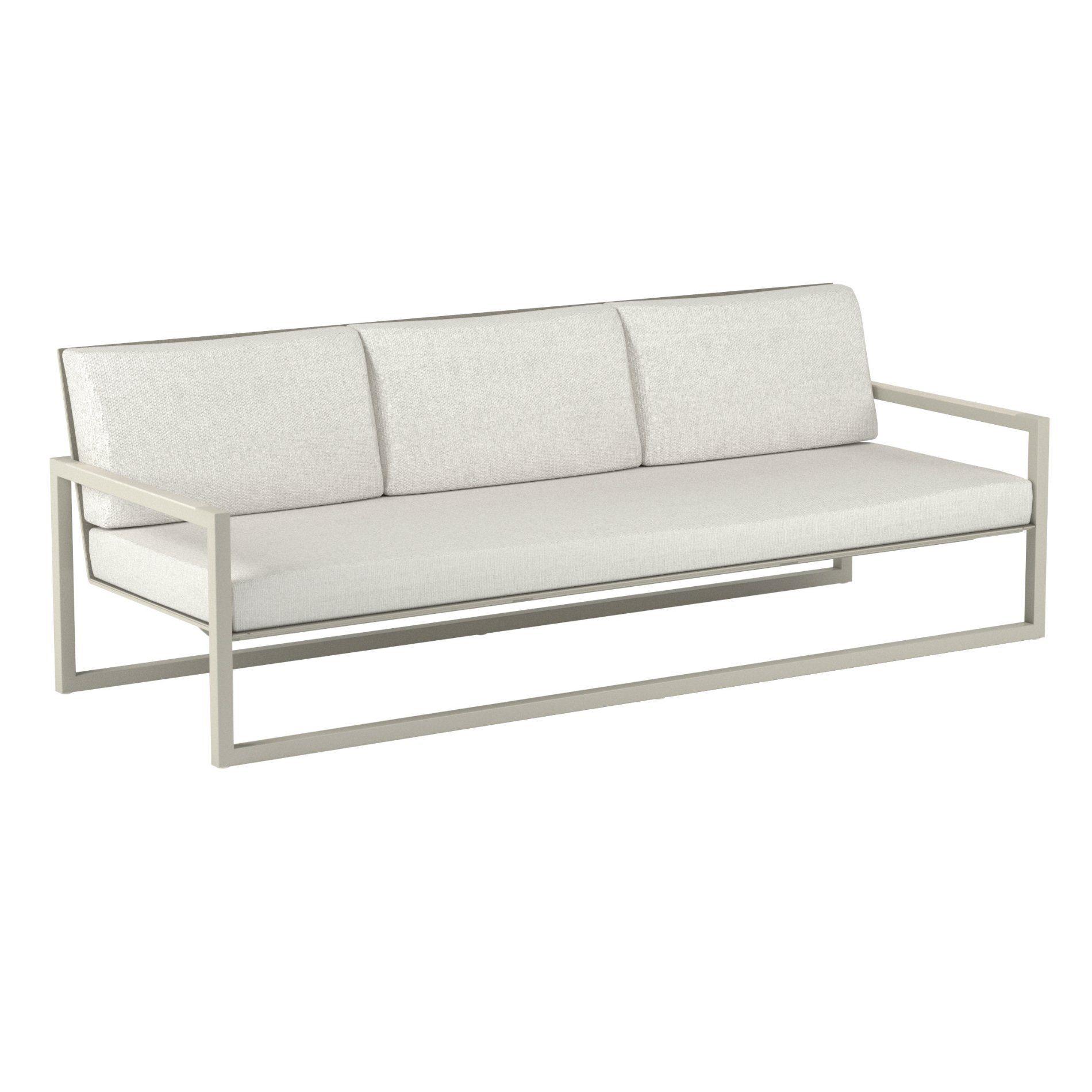 "Royal Botania ""Ninix 240"" 3-Sitzer Loungesofa, Gestell Aluminium sand, Bespannung Textilgewebe pearl grey, Kissen Ecru"