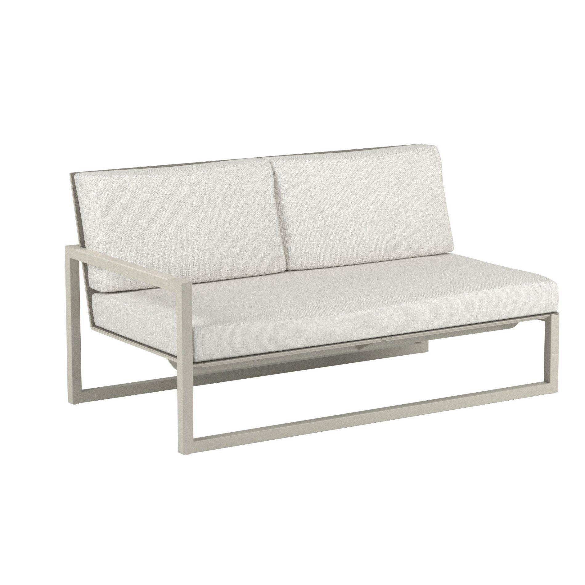 "Royal Botania ""Ninix 160"" 2-Sitzer-Seitenteil rechts, Gestell Aluminium sand, Bespannung Textilgewebe pearl grey, Kissen Ecru"
