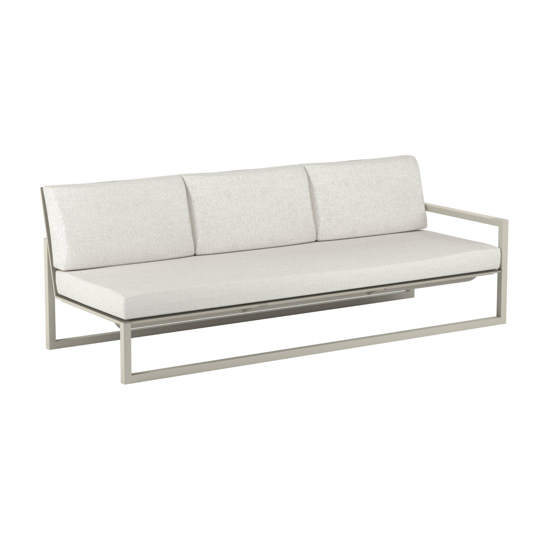 "Royal Botania ""Ninix 240"" 3-Sitzer-Seitenteil links, Gestell Aluminium sand, Bespannung Textilgewebe pearl grey, Kissen Ecru"