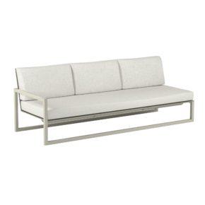 "Royal Botania ""Ninix 240"" 3-Sitzer-Seitenteil rechts, Gestell Aluminium sand, Bespannung Textilgewebe pearl grey"