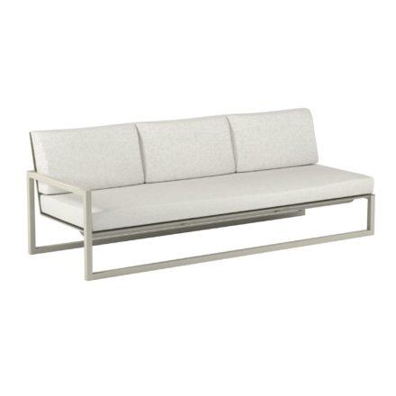 "Royal Botania ""Ninix 240"" 3-Sitzer-Seitenteil rechts, Gestell Aluminium sand, Bespannung Textilgewebe pearl grey, Kissen Ecru"