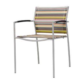 """Zebra """"Rovex"""" Gartenstuhl, Gestell Edelstahl, Sitz- und Rückenfläche Textilgewebe Twitchell® Green Stripe, Armlehnen Textilgewebe, stapelbar"""