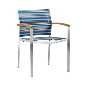 """Zebra """"Setax"""" Stapelsesel, hohe Rückenlehne, Gestell Edelstahl, Sitzfläche Textilgewebe Twitchell blue stripe, Armlehnen Teakholz"""