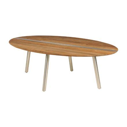"""Zebra Gartentisch """"Trix"""", Gestell Edelstahl, Tischplatte recyceltes Teak/Old Teak mit Edelstahleinlage"""