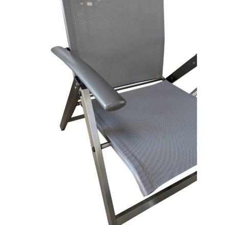 "Home Islands Klappsessel ""Daiki"", Gestell Edelstahl, Sitzfläche Textilgewebe silver black, Armlehnen Aluminium"