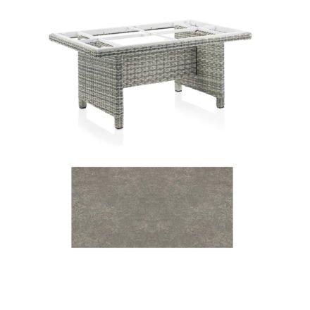 "Kettler Dining-Tisch ""Palma Modular"" 160x95cm, Polyrattan salt-n-pepper, Tischplatte Keramik grau-taupe"