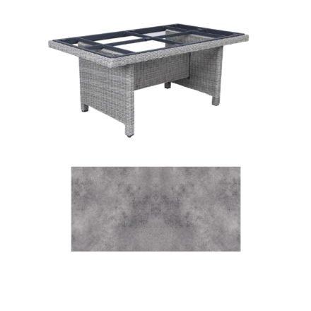 """Kettler Dining-Tisch """"Palma Modular"""" 160x95cm, Polyrattan white-wash, Tischplatte HPL anthrazit"""