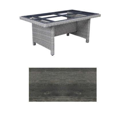 """Kettler Dining-Tisch """"Palma Modular"""" 160x95cm, Polyrattan white-wash, Tischplatte HPL pinie anthrazit"""