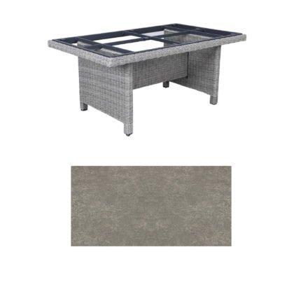 """Kettler Dining-Tisch """"Palma Modular"""" 160x95cm, Polyrattan white-wash, Tischplatte Keramik grau taupe"""