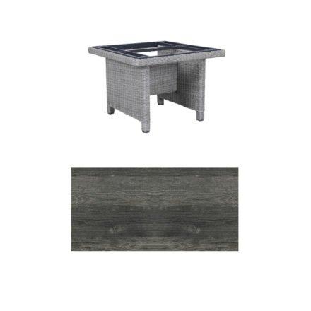 """Kettler Dining-Tisch """"Palma Modular"""" 95x95cm, Polyrattan white-wash, Tischplatte HPL pinie anthrazit"""