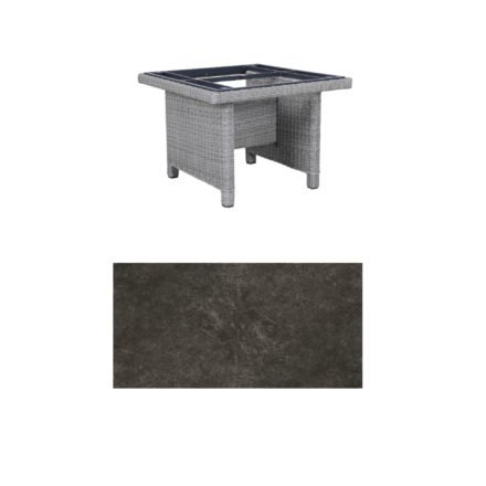 "Kettler Dining-Tisch ""Palma Modular"" 95x95cm, Polyrattan white-wash, Tischplatte Keramik anthrazit"