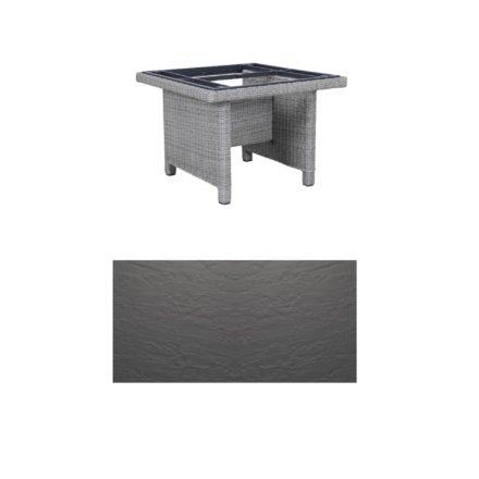 """Kettler Dining-Tisch """"Palma Modular"""" 95x95cm, Polyrattan white-wash, Tischplatte Kettalux anthrazit"""