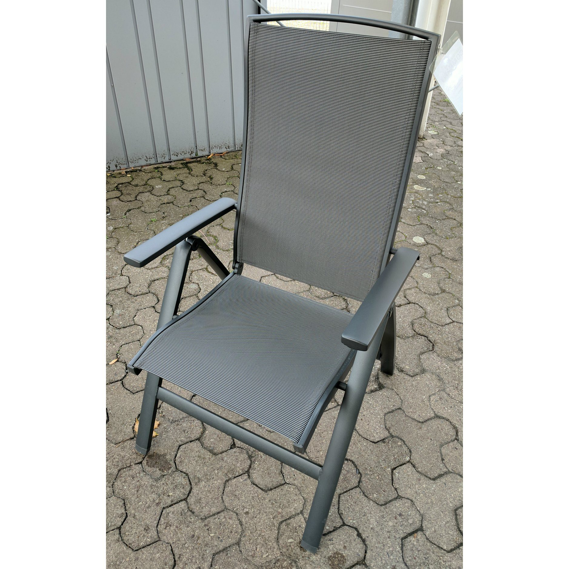 "Kollektion K ""Caledon"" Gartenstuhl, Gestell Aluminium eisengrau, Sitz- und Rückenfläche Textilgewebe silbergrau"