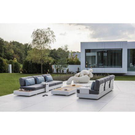 """Jati&Kebon """"Bari"""" Lounge-Set, Gestell Aluminium weiß, 3-Sitzer Basismodul, Beistelltisch groß und klein"""