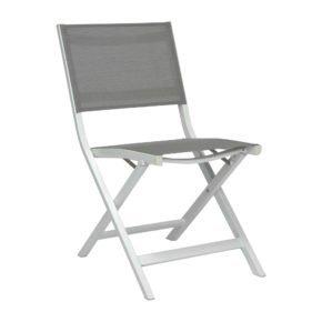 """Balkonklappstuhl """"Joe"""" von Stern, Gestell Aluminium weiß, Textilgewebe silber"""