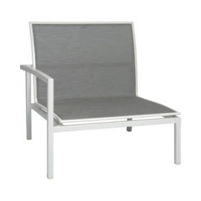 """Stern """"Skelby"""" Seitenelement rechts, Gestell Aluminium weiß, Textilenbezug silber"""