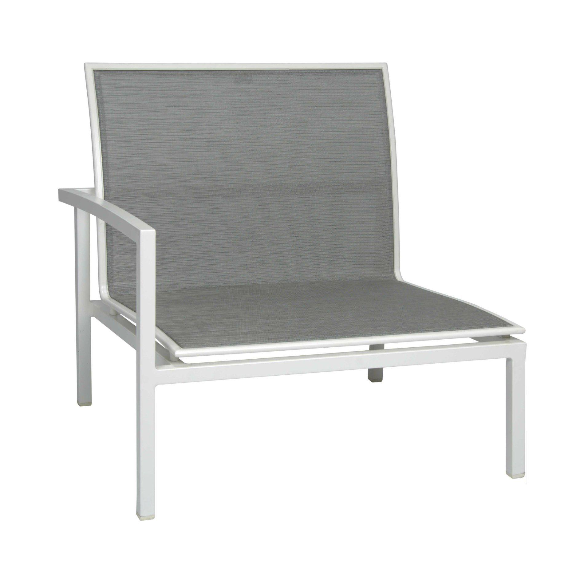 """Seitenelement rechts """"Skelby"""" von Stern, Gestell Aluminium weiß, Textilenbezug silber"""