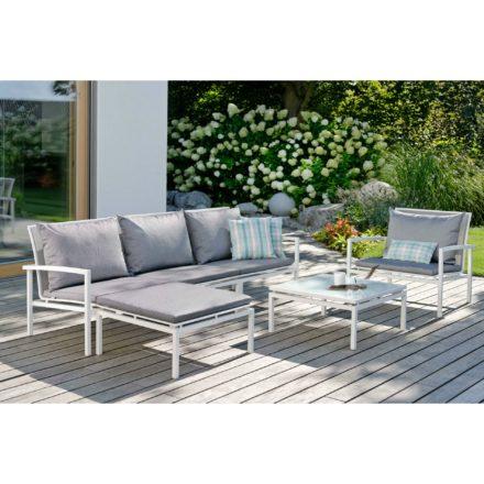 """Stern """"Skelby"""" Lounge-Set, Gestell Aluminium weiß, Sitzflächen-Basis Textilen silber, Auflagen/Kissen seidengrau"""