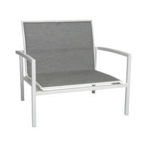 """Loungesessel """"Skelby"""" von Stern, Gestell Aluminium weiß, Textilenbezug silber"""