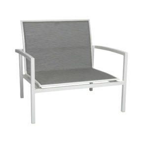 "Stern ""Skelby"" Loungesessel, Gestell Aluminium weiß, Textilenbezug silber"