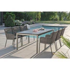 """Stern Gartenmöbel-Set mit Sessel """"Greta"""" und Gartentisch Aluminium/HPL (Tischgestellfarbe auf Abb. weicht ab)"""