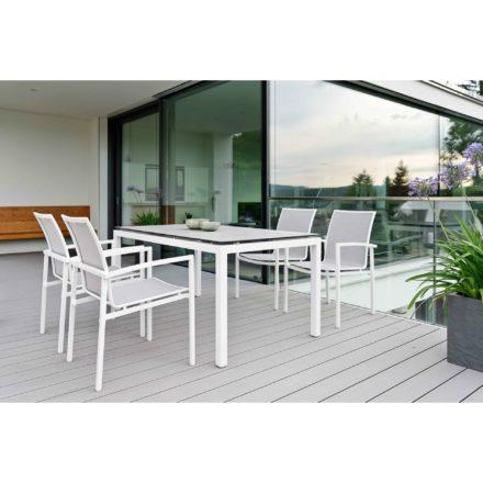 "Stern Stapelsessel ""Skelby"", Gestell Aluminium weiß, Sitz & Rücken Textilgewebe silber, Tisch Gestell Aluminium weiß, Tischplatte HPL Zement hell, 160x90 cm"