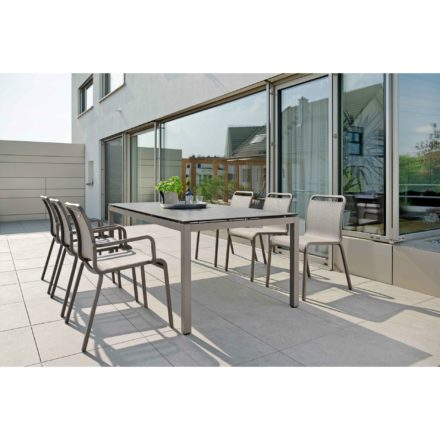 """Stern Gartenmöbel-Set mit Stuhl """"Oskar"""" und Gartentisch Aluminium taupe/HPL Smoky"""