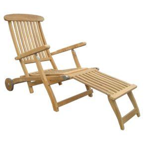 """Zebra Deckchair """"Bueno"""" mit Rollen, Gestell sowie Sitz-und Rückenfläche Teakholz"""