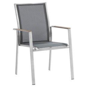 "Zebra Stapelsessel ""Fly"", Gestell Edelstahl, Teakarmlehnen, Sitzfläche Textilgewebe carbon grey"