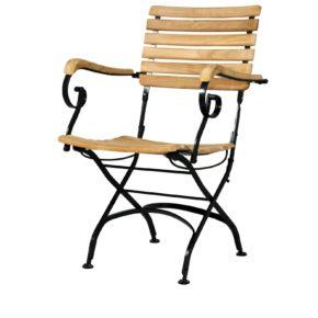 """Zebra Gartenstuhl """"Florence"""", Gestell Flachstahl schwarz, Sitzfläche Teakholz, mit Armlehnen"""