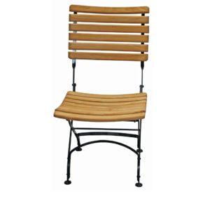 """Zebra Gartenstuhl """"Florence"""", Gestell Flachstahl schwarz, Sitzfläche Teakholz"""