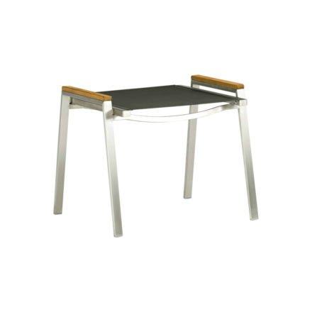 """Zebra Hocker """"One"""", Gestell Edelstahl, Teakholzgriffe, Sitzfläche Textilgewebe carbon grey"""
