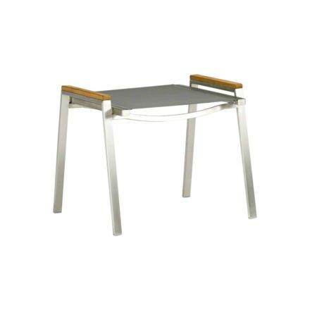"Zebra Hocker ""One"", Gestell Edelstahl, Teakholzgriffe, Sitzfläche Textilgewebe dark grey"