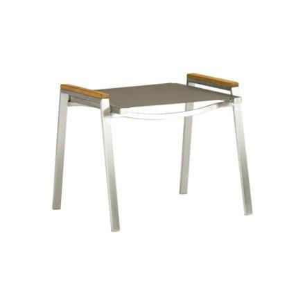 "Zebra Hocker ""One"", Gestell Edelstahl, Teakholzgriffe, Sitzfläche Textilgewebe taupe"