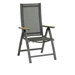 "Zebra Klappsessel ""Fly"", Gestell Aluminium graphite, Teakarmlehnen, Sitzfläche Textilgewebe carbon grey"