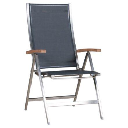 "Zebra Klappsessel ""One"", Gestell Edelstahl, Teakarmlehnen, Sitzfläche Textilgewebe carbon grey"