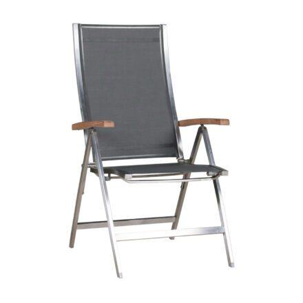 """Zebra Klappsessel """"One"""", Gestell Edelstahl, Teakarmlehnen, Sitzfläche Textilgewebe dark grey"""
