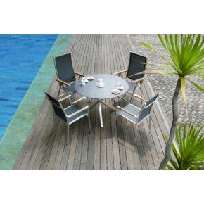 """Zebra Gartenmöbel-Set mit Stuhl """"One"""" und Tisch """"Mikado"""", Edelstahl/HPL"""