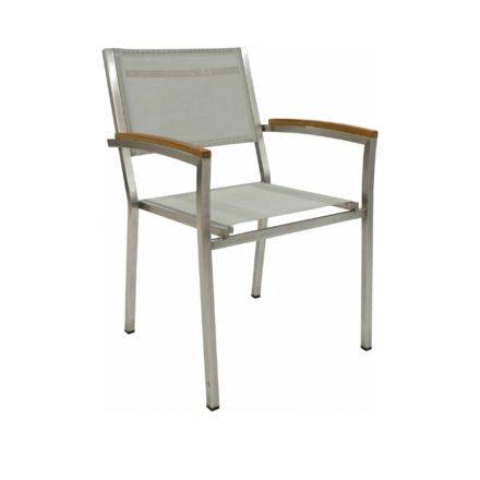 """Zebra Gartenstuhl """"Pontiac"""" aus Edelstahl mit Teakarmlehnen, Bespannung: Twitchell-Textilen seidengrau"""
