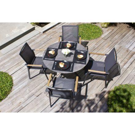 """Zebra Gartenmöbel-Set mit Stuhl """"Fly"""" und Tisch """"Mikado"""", Aluminium graphite/HPL"""