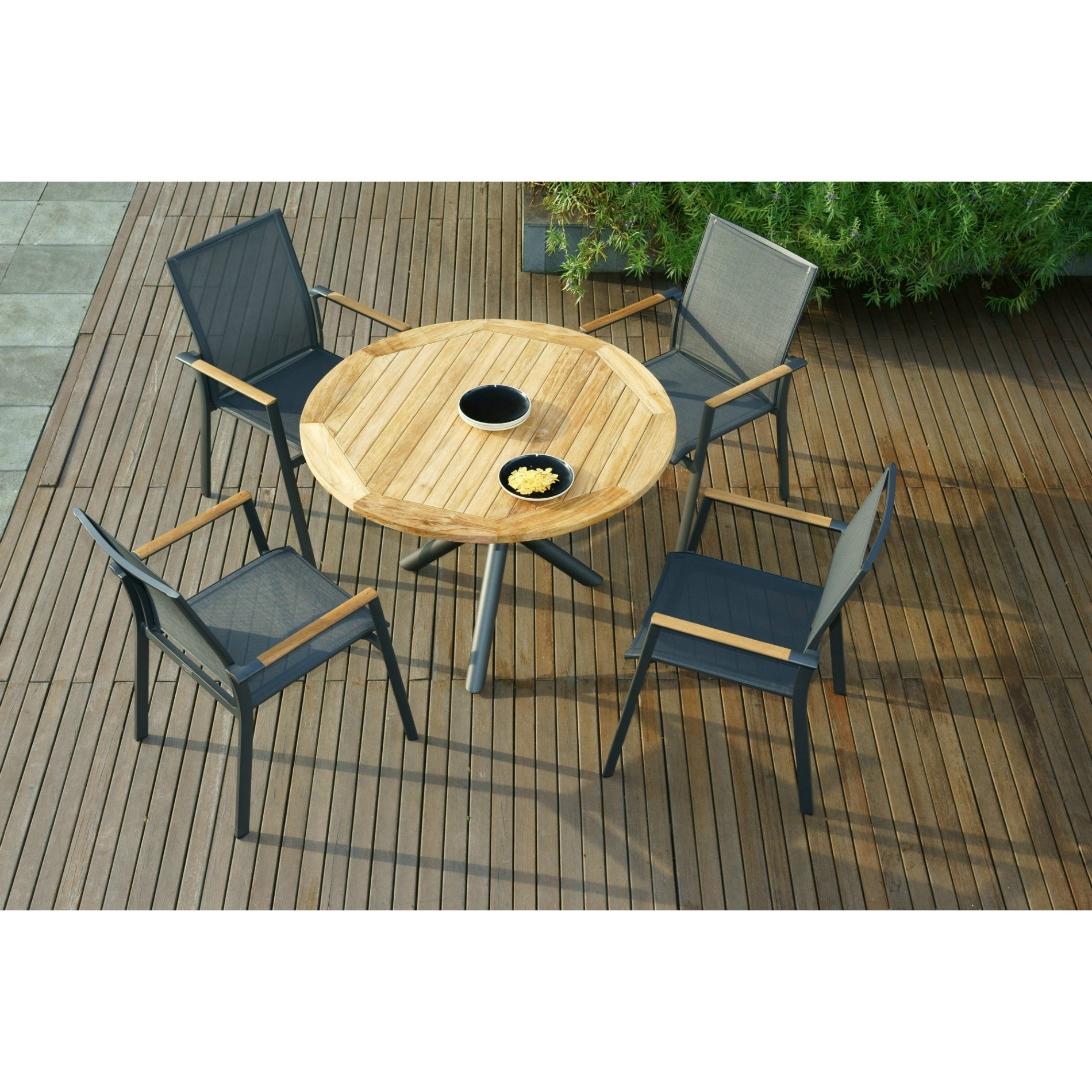 zebra gartenm bel set mit stuhl fly und tisch mikado aluminium teakholz. Black Bedroom Furniture Sets. Home Design Ideas