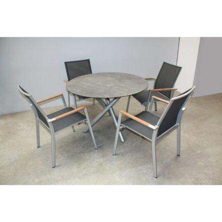 "Zebra Stapelsessel ""Fly"", Gestell Aluminium palladium, Teakarmlehnen, Sitzfläche Textilgewebe carbon grey mit Tischgestell Mikado Aluminium palladium und Tischplatte Sela beton"