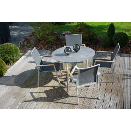 """Zebra Gartenmöbel-Set mit Stuhl """"Fly"""" und Tisch """"Mikado"""", Aluminium palladium/HPL"""