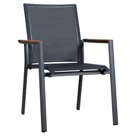 "Zebra Stapelsessel ""Fly"", Gestell Aluminium graphite, Teakarmlehnen, Sitzfläche Textilgewebe carbon grey"