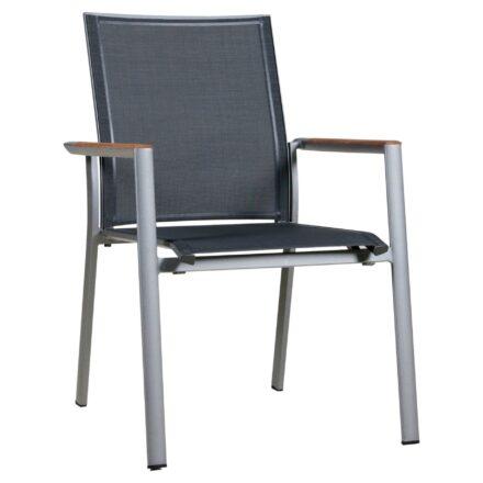 "Zebra Stapelsessel ""Fly"", Gestell Aluminium palladium, Teakarmlehnen, Sitzfläche Textilgewebe carbon grey"