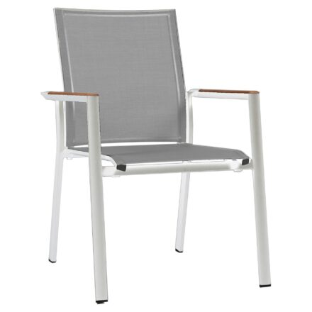 "Zebra Stapelsessel ""Fly"", Gestell Aluminium white, Teakarmlehnen, Sitzfläche Textilgewebe light grey"
